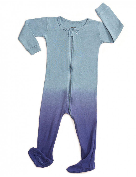 Leveret Organic Cotton Tie-Dye Blue Footed Pajama Sleeper 5 Years