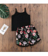 Summer Clothing Infant Baby Girl Kids Strappy Floral T Shirt Letter Top+Tassel Floral Shorts 2Pcs Outfit Clothes 6-12 Months