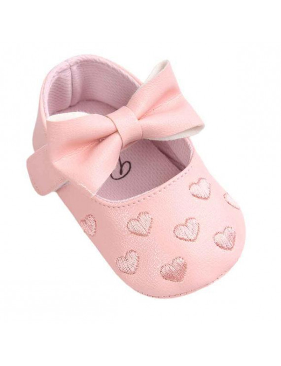 Mosunx Baby Girl Bowknot Leater Shoes Sneaker Anti-slip Soft Sole Toddler