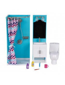 """My Life As Bathroom Play Set with Shower and Light-up Vanity for 18"""" Doll, 17 Pieces"""