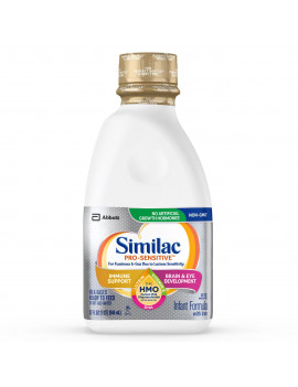 Similac Pro-Sensitive Baby Formula for Immune Support, With 2'-FL HMO, 6 Count Ready-to-Feed, 1-Quart Bottle