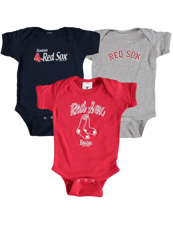 Boston Red Sox Soft as a Grape Infant 3-Pack Rookie Bodysuit Set - Navy/Red/Gray