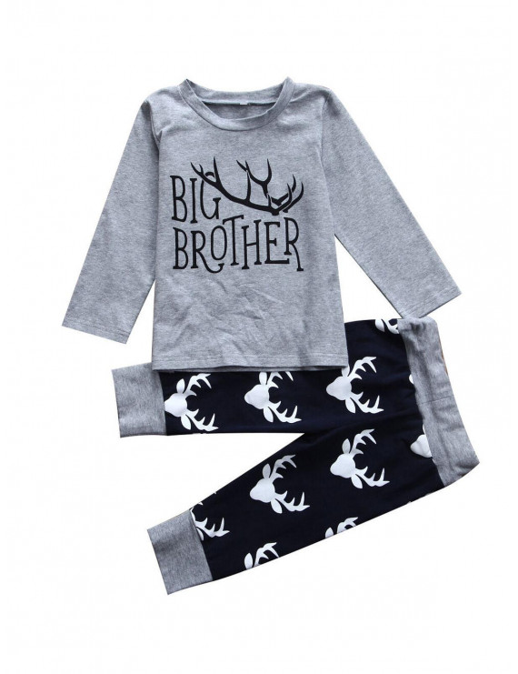 Lookwoild Newborn Infant Baby Boy Gig Brother T Shirt Top Pants Matching Outfits