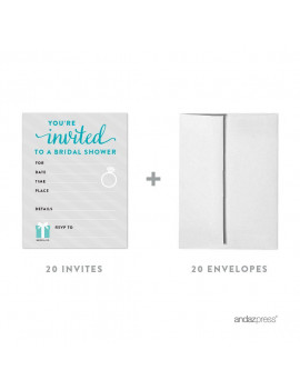 Bride & Co. Bridal Shower Blank Invitations, 20ct