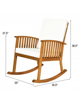 2-Piece Natural Acacia Wood Rocking Chair Outdoor Patio Rocker with Cushions