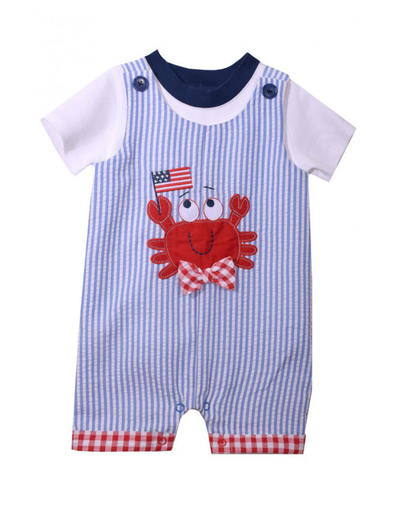 Bonnie Jean Boys Patriotic Crab Shortall and Tee Set 3-6 months