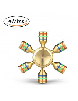 Bonison 6 Wings Spinner, 100% Premium Brass, Stainless Steel Bearing, Removable Arms for Customization, Guarantee to Spin 4 Minute Plus, Fidget Spinner for Fighting ADHD, Boredom, Stress and Anxiety
