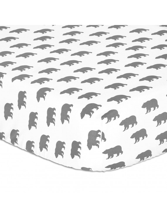 Grey Bear Fitted Crib Sheet by The Peanut Shell