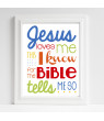 Gender Neutral Nursery Art Jesus Loves Me Christian Art Bible Verse Primary Colors red orange yellow green blue gray Baby Shower Gift Christening Gift Baptism Gift 16x20