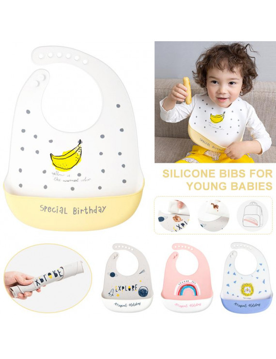 Amerteer Silicone Baby Bibs Easily Wipe Clean - Comfortable Soft Waterproof Adjustable Snaps Bib For Boys Girls Newborns Infant Toddlers Keeps Stains Off Baby Gifts