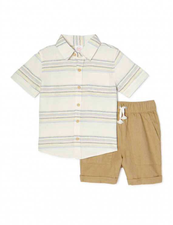 Wonder Nation Baby and Toddler Boys Button Up Shirt & Shorts, 2-Piece Outfit Set