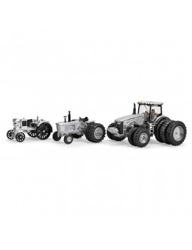 1/64 Limited Edition 100 Years Silver and Black John Deere 8400R, 4020, Waterloo Three Piece Set