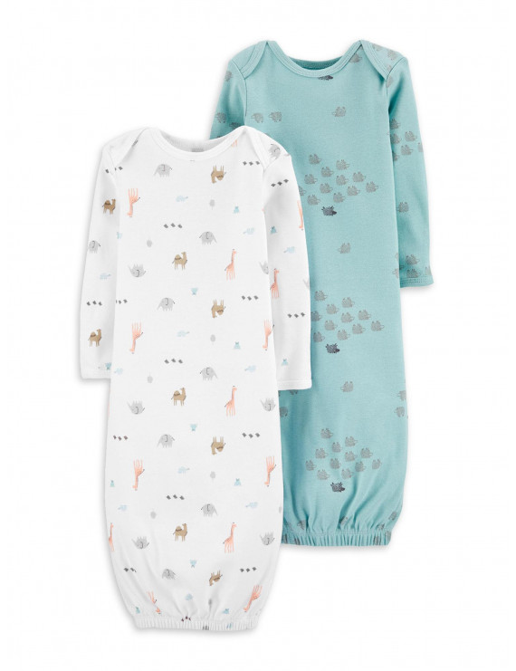 Little Planet Organic by Carter's Baby Boy or Girl Unisex Gown Pajamas, 2-Pack