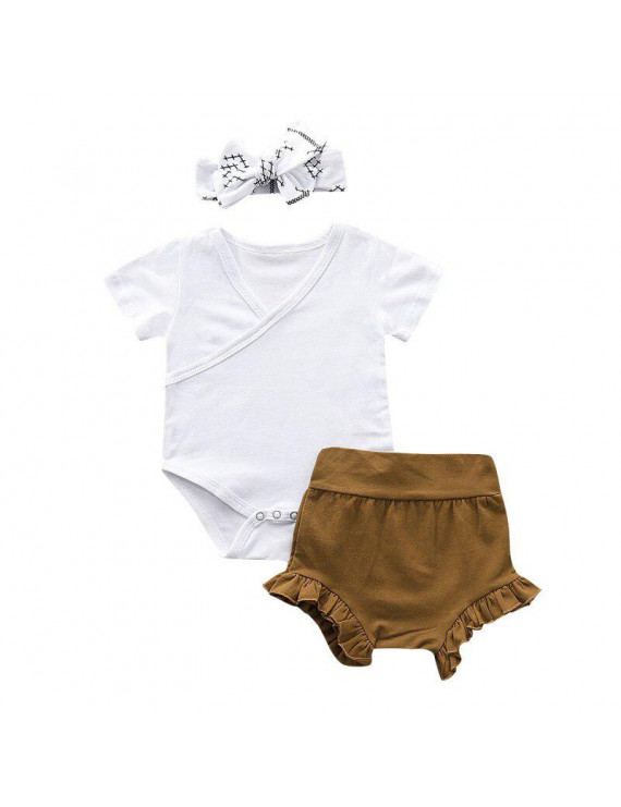 Summer Baby Girl Casual Short Sleeve Cotton Romper Tops Briefs Shorts With Headband Outfits Set