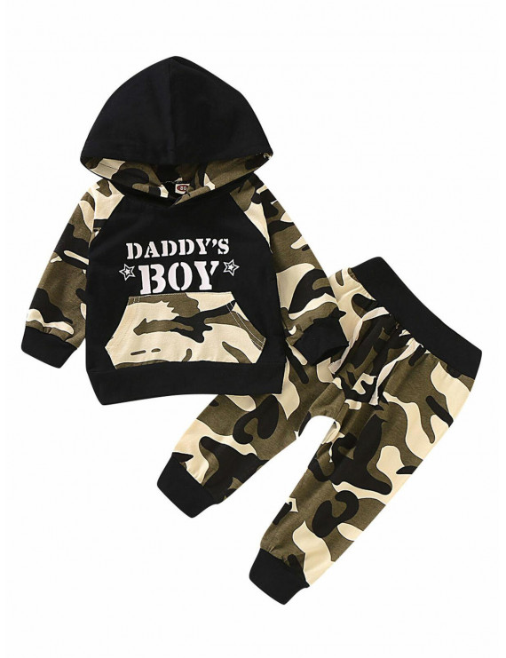 New Cute Baby Boy 2Pcs Camouflage Outfits Sets Toddler Kids Cotton Hooded Tops+ Pants Suits 1-4 Years