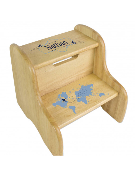 Blue World Map Natural Wood Two Step Stool