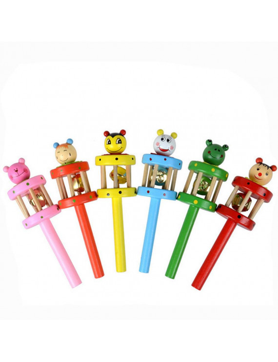 DZT1968Baby Toy Cartoon Animal Wooden Handbell Musical Developmental Instrument