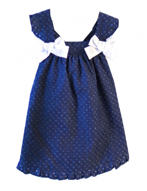 Coquelicot Baby Girls Navy Decorative Bow Santorini Denim Powerty Dress 9M