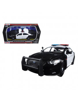 1 by 24 2013 Ford Police Car Interceptor Unmarked Diecast Model Car, Black & White