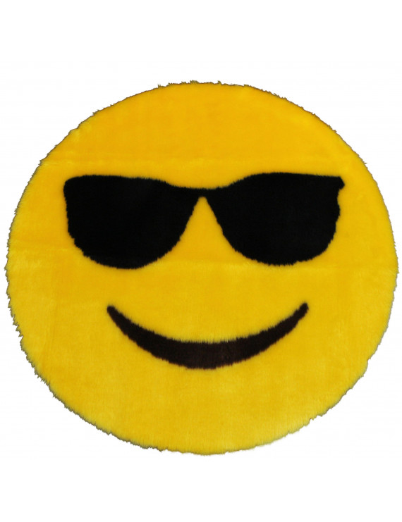 Emoji Rug Soft and Cute - Perfect for Children - Made in France - Sunglasses