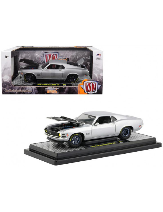 1970 Ford Mustang Boss 429 Matt Silver Limited Edition to 5,880 pieces Worldwide 1/24 Diecast Model Car by M2 Machines
