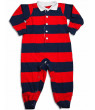 Saras Prints Baby Infant Toddler Boys One Piece Rugby Coverall Playsuit Pajama, 29826 Navy Green / 9Months