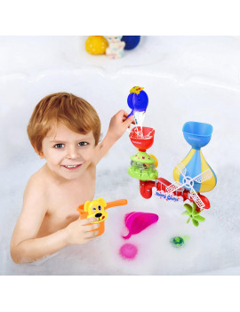 11PCs Baby Bath Toy -Waterfall Water Station with Sea Animals Squirter Toys, Stackable Cups and Fishing Net Enhance Your Baby's Thinking Ability and Creativity Great Bathtub Toys for ToddlersF-193