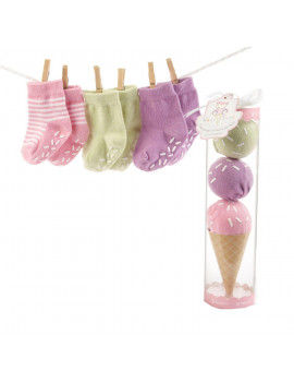 """Sweet Feet"" Three Scoops of Socks Gift Set, Pink By Baby Aspen"