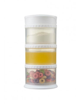 Innobaby Packin' Smart Stackable and Portable Storage System for Formula, Liquid, Baby Snacks and more. 3 Stackable Cups in White. BPA Free.