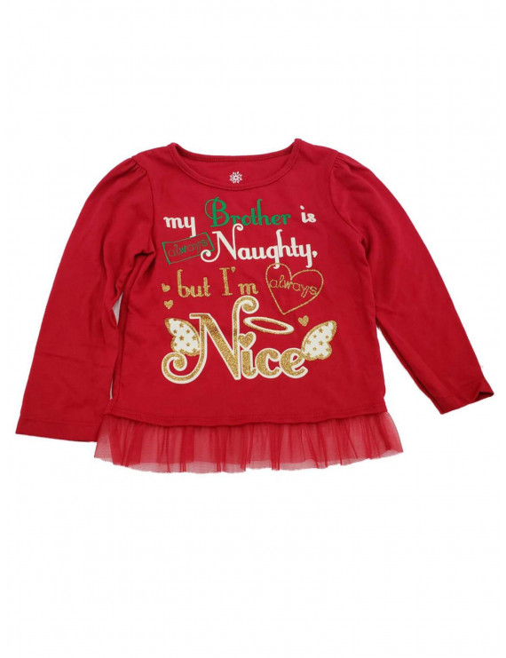 Infant Toddler Girls My Brother Is Naughty Christmas Glitter Baby Tee TShirt