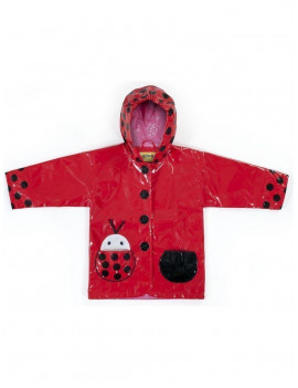 Little Girls Red Black Lady Bug Pocket Hooded Rain Coat 2T-6X