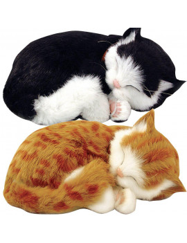 (Set) Perfect Petzzz Black And White & Orange Tabby Cats Sleeping Kittens