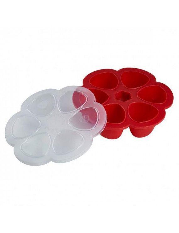 BEABA Multiportions Silicone Baby Food Freezer Tray, 5 oz, Cherry