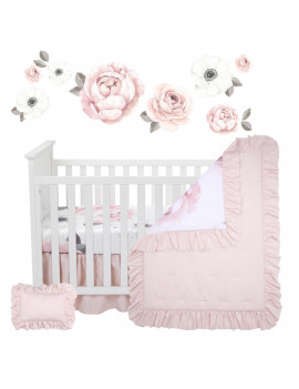 Lambs & Ivy Floral Garden Watercolor/Pink Linen 5-Piece Baby Crib Bedding Set