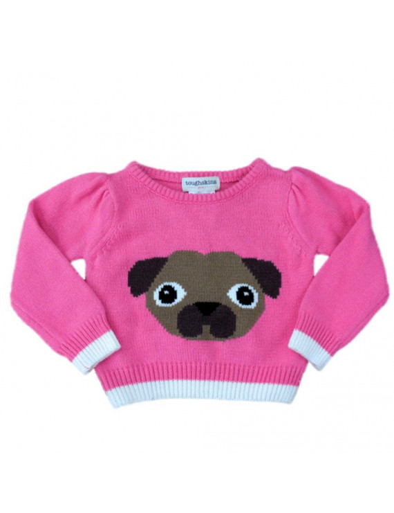 Toughskins Infant Girls Pink Puppy Dog Pullover Sweater 12 Months
