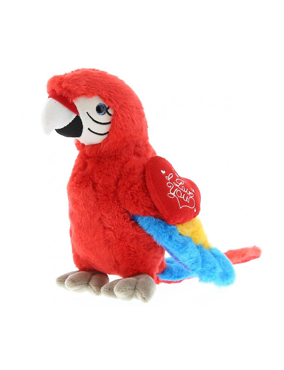Dollibu Red Parrot I Love You Valentines Stuffed Animal - Heart Message - 9.5 inch - Wedding, Anniversary, Date Night, Long Distance, Get Well Gift for Her, Him, Kids - Super Soft Plush