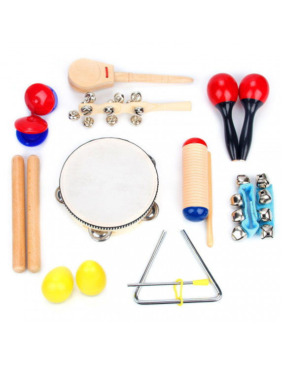 Musical Instrument Set 16 PCS | Rhythm & Music Education Toys for Kids | Clave Sticks, Shakers, Tambourine, Wrist Bells & Maracas for Kids | Natural Toys with Carrying Case by Boxiki Kids