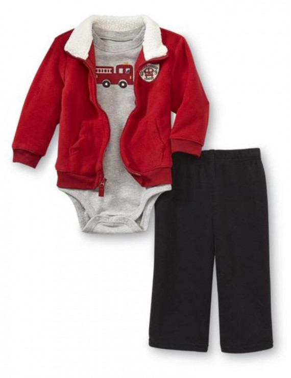 Infant Boys Red Firetruck Baby Outfit Pants Bodysuit & Sweater Jacket Set