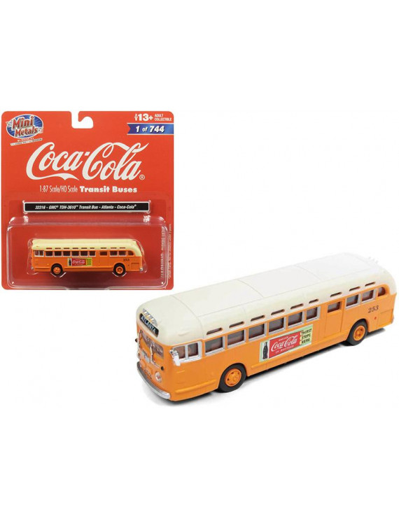 "GMC TDH-3610 Transit Bus (Atlanta) \Coca Cola"" Orange with Cream Top 1/87 (HO) Scale Model by Classic Metal Works"""""""