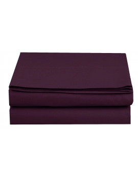 1500 Thread Count Hospitality Flat Sheet 1-Piece Flat Sheet, Queen Size, Purple