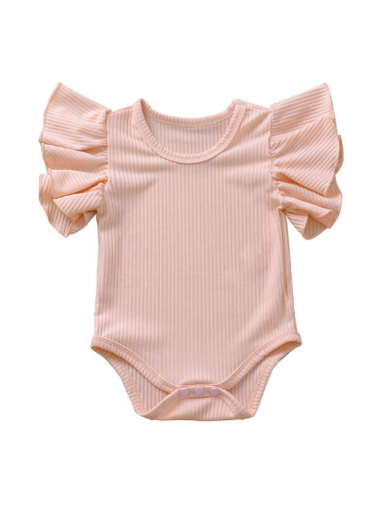 Summer Newborn Baby Girls Ruffles Romper Short Sleeve Jumpsuit Ribbed Knitted Romper Infant Summer Clothes High Quality Outfits