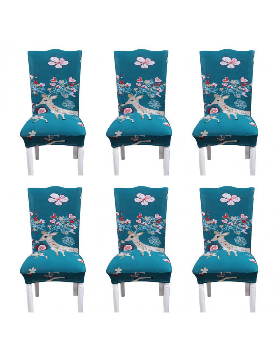 6Pcs Comfortable Stretch Milk Silk Print Pattern Family Party Seat Cover
