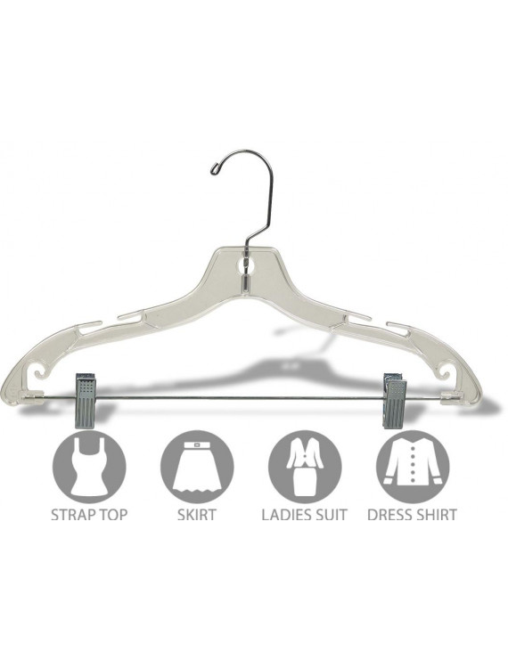 Clear Plastic Kids Combo Hanger w/ Adjustable Cushion Clips, Box of 100 Small 12 inch Space Saving Child hangers w/ Notches and 360 Degree Chrome Swivel Hook by International Hanger
