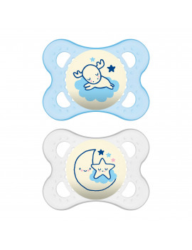 MAM Glow In the Dark Pacifiers, Baby Pacifier 0-6 Months, Best Pacifier for Breastfed Babies, 'Night? Design Collection, Boy, 2-Count