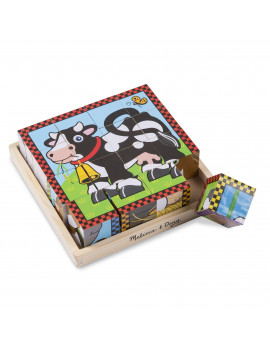 Melissa & Doug Farm Cube Puzzle (Preschool Kids, Six Puzzles in One, Sturdy Wooden Construction, 16 Cubes and Wooden Tray)