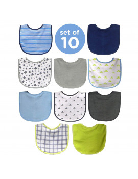 Neat Solutions 10 Pack Water Resistant Bib Set Blue/Grey Assorted Boy