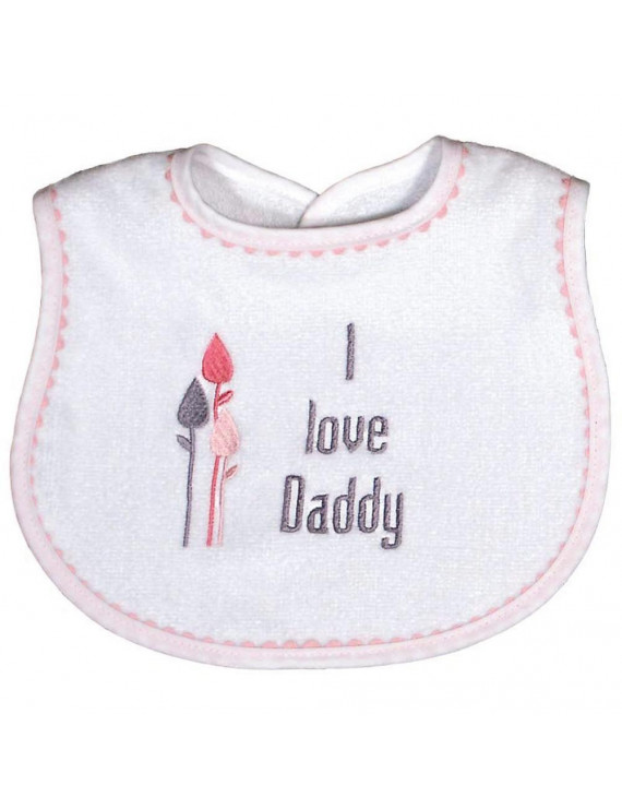 "Baby Girls ""I Love Daddy"" Embroidered Bib, Pink"