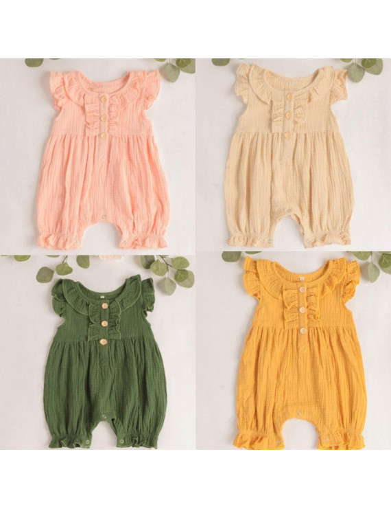 Newborn Baby Girls Clothes Sleeveless Button Romper Bodysuit Jumpsuit Outfits