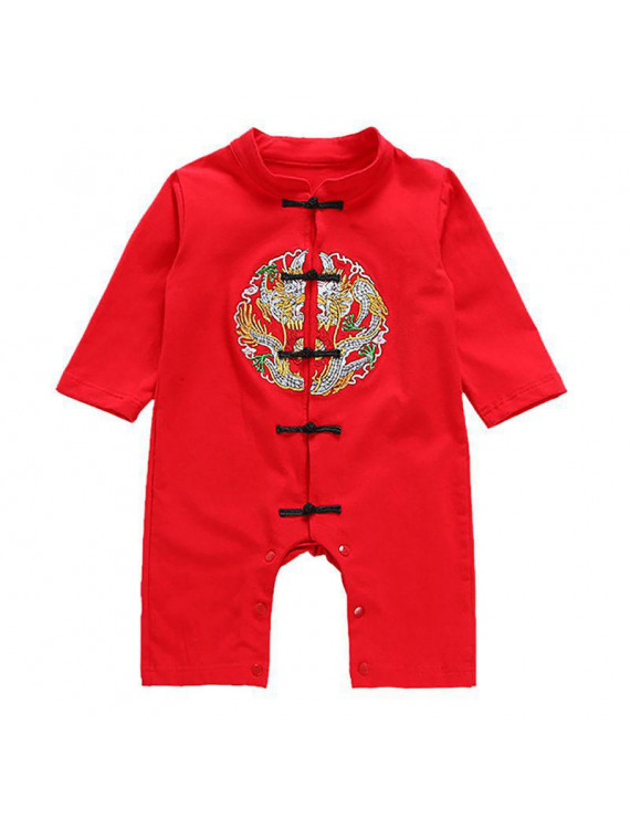 Newborn baby cotton long-sleeved romper embroidery Chinese style Tang suit romper onesies