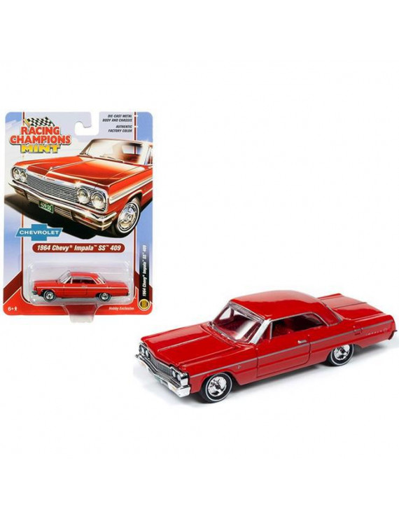 Racing Champions RCSP012 1964 Chevrolet Impala SS 409 Hardtop Riverside Red with Red Interior 1-64 Diecast Model Car